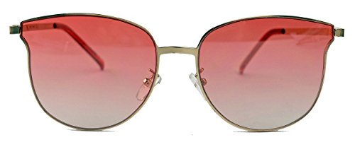 Randlose Retro Sonnenbrille Flat Lens Pantobrille flache Gläser Metallrahmen G21 (Rosa Ombre)