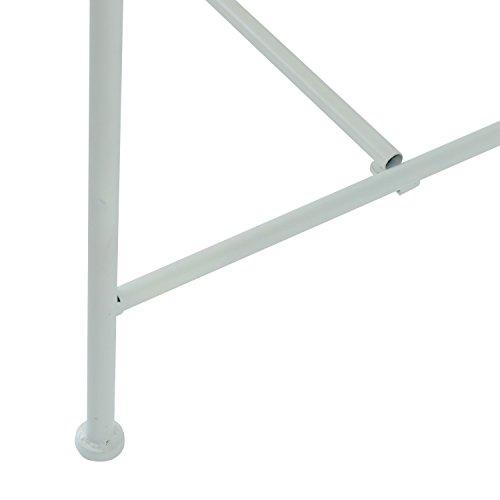 Outsunny Garden 2-Sitzer Metall Bench Park Platz Outdoor Möbel W/Dekorative Rückenlehne weiß - 4