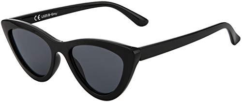 La Optica B.L.M. UV400 CAT 3 CE Damen Sonnenbrille Cateye Katzenaugen Sonnenbrille - Einzelpack Glänzend Schwarz (Gläser: Grau)_LO25 B-Grey