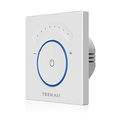 TEEKAR [Upgraded] Smart Dimmer Schalter Kompatibel Mit Alexa/Google Home, Timing-Funktion, APP Fernbedienung, WLAN Berühren Lichtschalter AC 110-240 V Für LED INC CFL -Neutralleitung Erforderlich (Lichtschalter Dimmer Installieren)