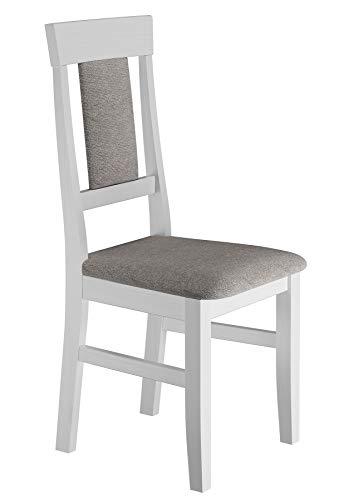 Erst-Holz® Gepolsterter Massivholz-Stuhl Küchenstuhl Esszimmerstuhl in weiß-grau V-90.71-25W, Menge:Einzelartikel