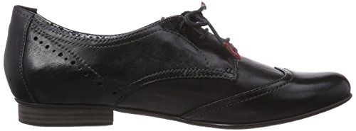Tamaris 23207 Damen Oxford Schnürhalbschuhe Schwarz (Black Leather 003)