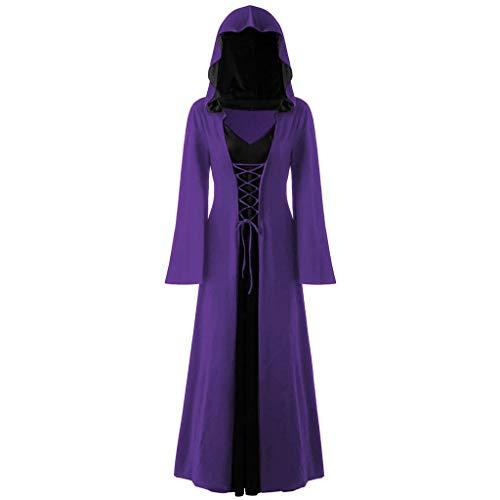 Halloween Kostüm Kapuze Kleider Lang Damen Kostüm Hexe Große Größe,Hoodie Gothic Kleider Spitze Up Patchwork Langarm langes Kleid Karnevalskostüme (Günstige Schneewittchen Kostüm)