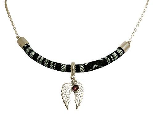 Gemshine - Damen - Halskette - Anhänger - 925 Silber - AZTEC - BOHO - Doppel Flügel - Amethyst - ()