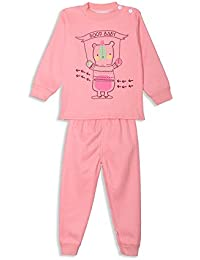 Camey kids Orange Colour High Quality Night Suit Regular Comfort Fit full Sleeves Winter Wear Cotton Blend Top And Pyjama Set With Inner Fur