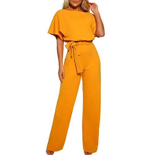 """Combinaision Femme Manches Courtes Taille Haute,OverDose Soldes Ete Sexy Coupe Droite Slim Mode Pantalons Jumpsuit Clubwear Chic Pour Soirée TAILLE:Size:36 Bust:95CM/37.4"""" Sleeve:28CM/11.0"""" Waist:64-85CM/25.2-33.5"""" Hip:99CM/39.0"""" Length:147CM/57.9'' ..."""