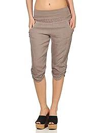 8b53dddf2b Malito Mujer Pantalones de Lino Pantalones de Ocio Colores Liso 7988