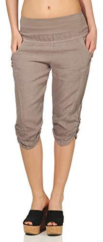 Malito Damen Hose aus Leinen   Stoffhose in Uni Farben   Freizeithose mit Knöpfen   Chino - Capri - Strandhose 7988 (Fango, M)