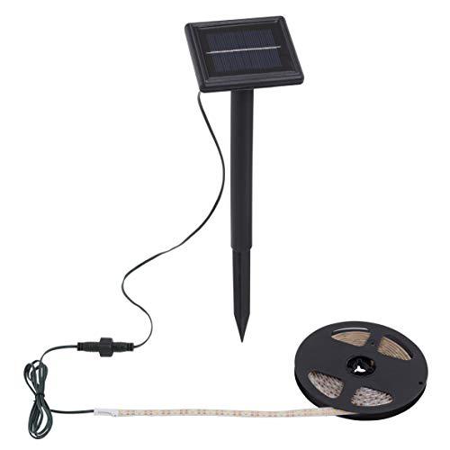Briloner leuchten, striscia di luci led di 3metri, per esterni, con pannello solare in plastica di colore nero, ip65, 300x 9,5x 33cm