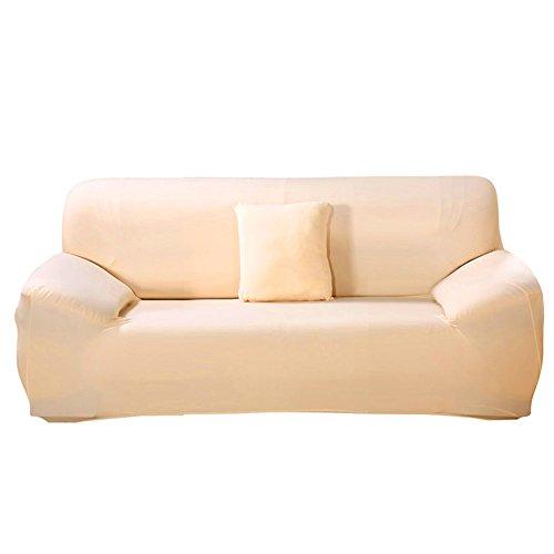 ele ELEOPTION Sofa Überwürfe Sofabezug Stretch elastische Sofahusse Sofa Abdeckung in Verschiedene Größe und Farbe Herstellergröße 195-230cm (Hell apricot, 3 Sitzer für Sofalänge 170-220cm)