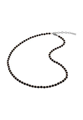 BREIL - Collana Uomo Black Onyx TJ2410 - Collana con Sfere di Onice Nera e Acciaio Gold Rose Alternate - Lunghezza 52 cm