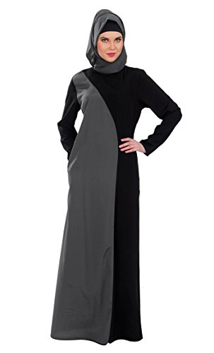 East Essence - Robe - Solid - Manches Longues - Femme Multicolore - Black & Gray