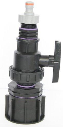 'ame80 _ 9482 + 99 Bec Adaptateur S60 x 6 filetage brut avec raccord de réduction AG 1, boule plastique robinet + mamelon double fiche et convient pour Gardena, IBC Adaptateur de réservoir d'eau de pluie de Accessoires de conteneurs Mamelon de Bidon, tonne, zysterne