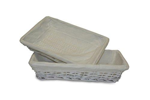 Plateau en osier tissu Blanc 50_cm