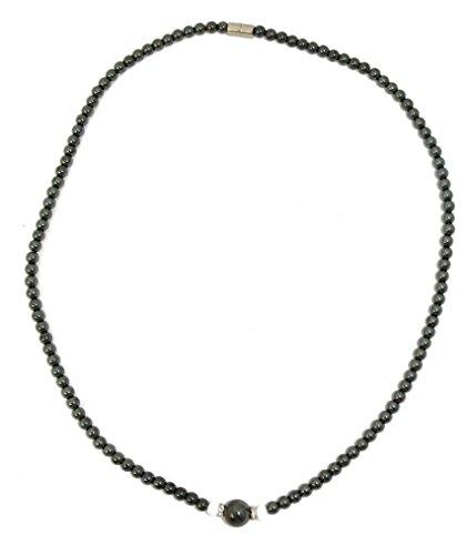 COLLIER HEMATITE, fermoir aimanté, perles hématite de 4 et 8 mm