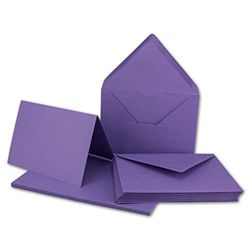20x Faltkarten Set mit Brief-Umschlägen Violett - DIN A6 / C6-14,8 x 10,5 cm   Premium Qualität   FarbenFroh® von Gustav NEUSER®