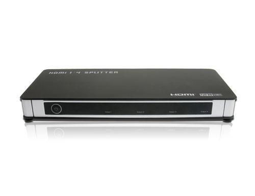 HDGear HSP0104 - 1x4 HDMI Splitter mit integriertem Signalverstärker inkl. Netzteil und Handbuch. 1x HDMI A Buchse (In) auf 4x HDMI A Buchse (Out). Farbe: Schwarz / Silber.