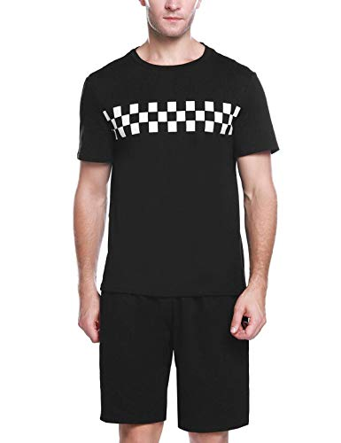 Abollria Schlafanzug Herren Kurz Schlafanzug Zweiteiliger Baumwolle Schlafanzüge Shorty Pyjama Anzug für Sommer (Top Schwarz Hat)