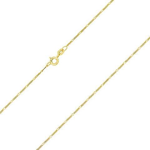 Goldkette, Figarokette diamantiert Gelbgold 585 / 14 K, Länge 45 cm, Breite 1.1 mm, Gewicht ca. 1.5 g.,