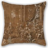 Elegancebeauty Cushion Cases Of Oil Painting Louis-Michel Van Loo - La Familia De Felipe V. 20 X 20 Inches / 50 By 50 Cm,best Fit For Kids,relatives,saloon,drawing Room,home Office Twice Sides