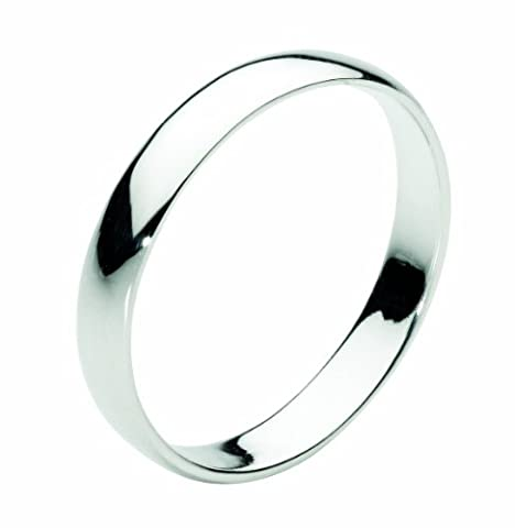Dew Band Sterling Silver 3 mm D Section Plain Band Ring - Size - V