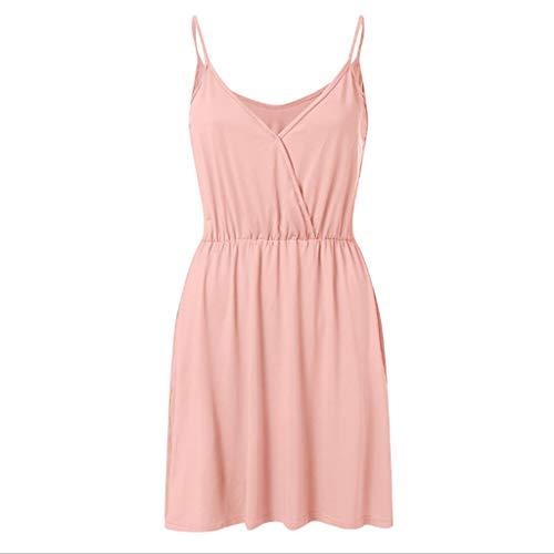 Proumy Sommerkleid für Damen, dünn, ärmellos, V-Ausschnitt, mit elastischem Gürtel, Comprar más Con descuento en Proumy, Pink, Comprar más Con descuento en Proumy XXXL (De Descuento Vestidos)