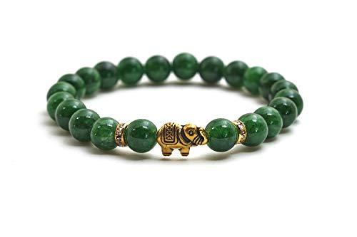 Elefanten Armband mit Jade Perlen - Yoga Armband und Glücksbringer aus Naturstein (Jade Elefant)