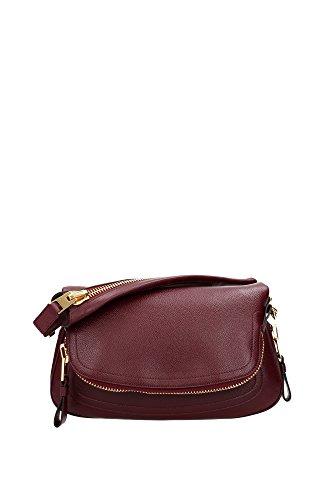 Bolso de Hombro Tom Ford Mujer Piel Burdeos y Oro L0570TVENCRR Rojo 8x16x31 cm
