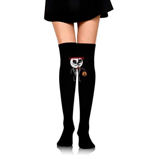 HRTSHRTE Halloween Pumpkin Skeleton Panda Ankle Stockings Over The Knee Sexy Womens Sports Athletic Soccer Socks (Red Panda Skeleton)