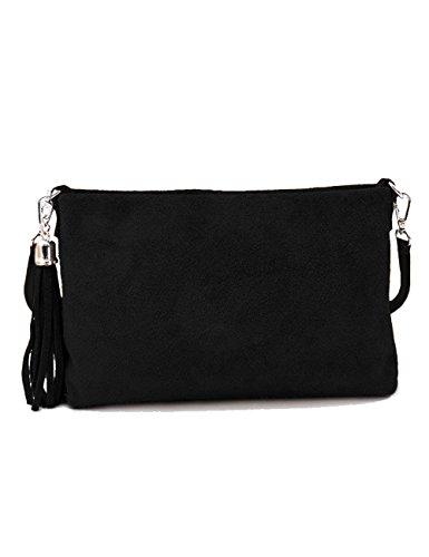 Schwarze Wildleder-fransen (Ledertasche schwarz klein Lederhandtasche Umhängetasche Fransen echt Leder Tasche Wildleder Handtasche Damen 34-bl)