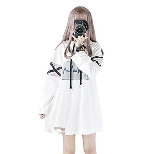 Himifashion Hoodies Femmes Harajuku Noir à Capuche Longue Robe Coton pour Dames (S, White)