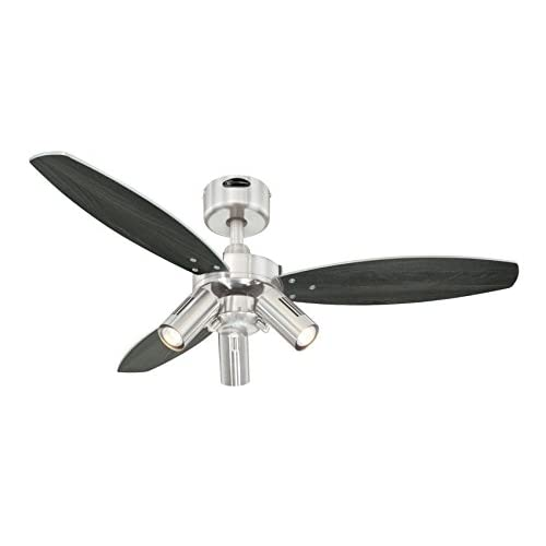 31vBq3tKtBL. SS500  - Westinghouse Lighting 72290 Jet Plus 105 cm Three Indoor Ceiling Fan, Spot Lights, Brushed Nickel Finish with Reversible…