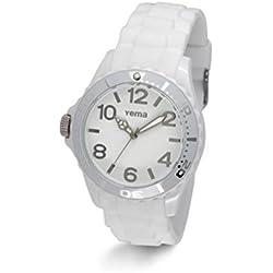 Yema ymhf1192-Montre de Poignet pour homme, bracelet en silicone blanc