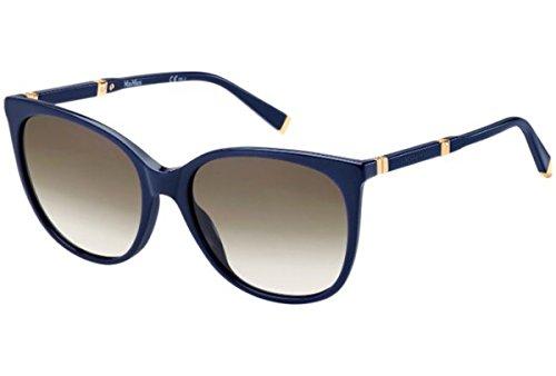 Max mara mm design ii js uby, occhiali da sole donna, blu (bluette gold/brown sf), 56