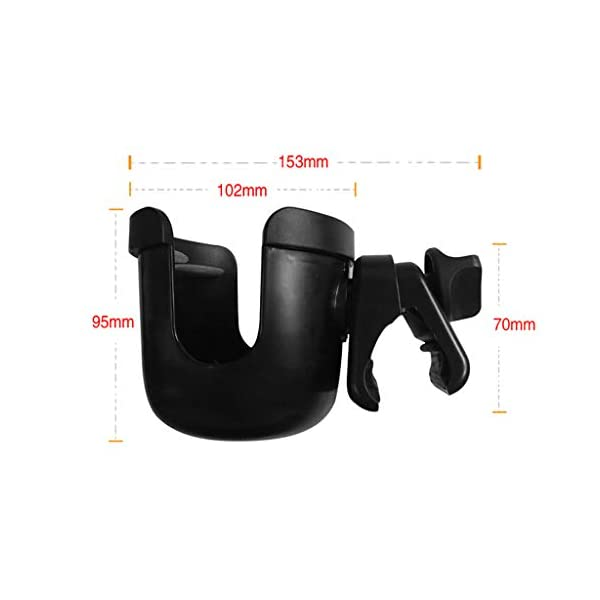 Universal Cup Holder Bottle Holder 360 Degrees Rotation for Baby Stroller, Bicycle, Wheelchair, Walker, Trolleys Perfeclan The cup holder itself nicely holds your travel cup without any fear of falling out Environmental protection plastic material, durable and lightweight, no harm to babies. Easy to install and take apart, will not spend you much time. 10