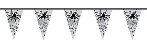 15Wimpelkette Spider Web Spider, weiß/schwarz (Halloween Kostüme Lokale)