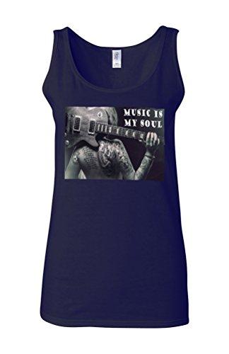 Music Is My Soul Sexy Tattoo Girl Novelty White Femme Women Tricot de Corps Tank Top Vest Bleu Foncé