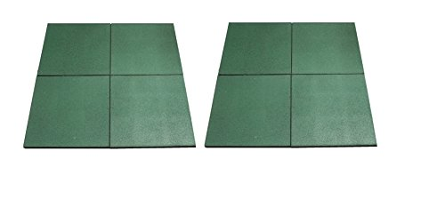 HIKS Green Rubber Indoor/Outdoor Safety Protection Matting/Mats/Tiles Play Area. Pack of 8, 50cm x 50cm, giving coverage of 2 m²