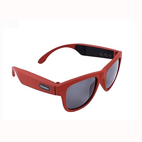 RHXX Knochenleitungskopfhörer Polarisierte Sonnenbrille Nicht-In-Ear-Kopfhörer Mit Musik Hören Und Telefonieren Sport Unisex-Design,Red