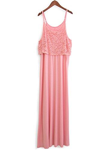ACHICGIRL Women's Elegant Sleeveless Lace Panel Maix Pleated Prom Dress Pink