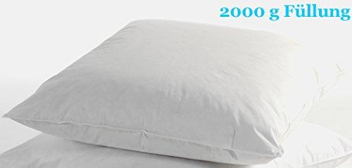 """Feder-Kopfkissen """"Trautesheim"""" Federkissen in 80x80cm mit 1500g oder 2000g-Gänsefedern-Füllung - Bezug 100% Baumwolle in weiß - KEIN LEBEND-RUPF (2000g)"""