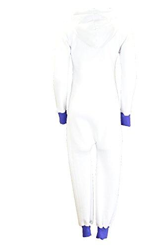 Jumpsuit Overall Strampler Ganzkörperanzug für Damen in schönen Basic Farben Weiß(blau)