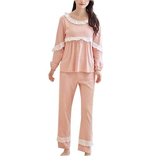 Incinta pigiama pantaloni inverno donna - pigiami premaman con funzione allattamento lungo due pezzi ospedale (m)