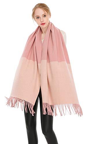 Longwu Bufanda de lana de cachemira 100% pura Pashmina Chal Wrap para mujer Bufandas gruesas largas...
