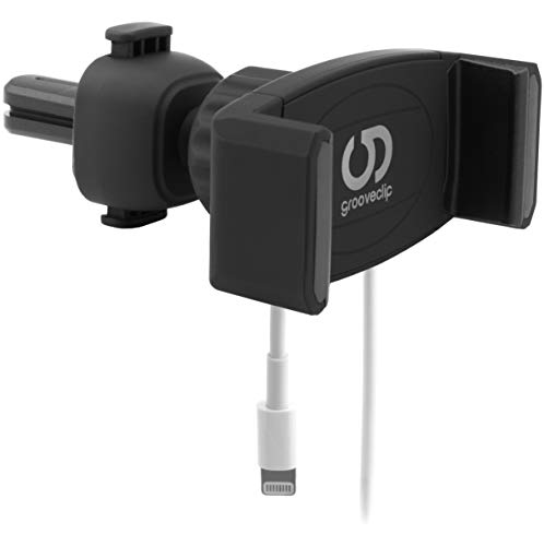 grooveclip® AIR Slider 2 - Universal Handyhalterung für Lüftungsgitter im Auto - Neues verbessertes Modell 2018 - Jetzt mit integrierter Handy Ladekabel-Halterung und matt schwarzer Silk Oberfläche