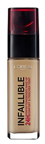 L'Oréal Paris Infaillible Make Up, 300 Amber - Make Up 24 Stunden Halt - optimal deckend & ultra-resistent gegen Talg und Schweiß, 1er Pack (1 x 30 ml)