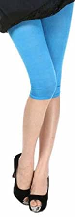 ELEGANCE LADIES QUALITY COTTON SOFT STRETCH PLAIN 3/4 UNDER KNEE CROP LEGGINGS- COLOURS & SIZES (Large UK-14 (40), Sky Blue)