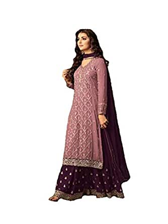 Generic Women's Georgette Fabric Sharara Suit (LNF097, Pink, 4XL)