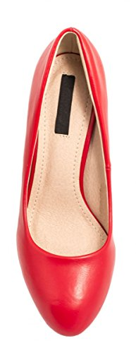 Elara Damen Pumps | Stiletto High Heels | Lederoptik Abendschuh Rot