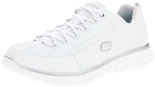 Skechers 11798 Sneaker Synergy- Elite Status, Donna, Bianco/Argento, 40